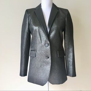 Gerard Darel Leather Lapel Metallic Blazer
